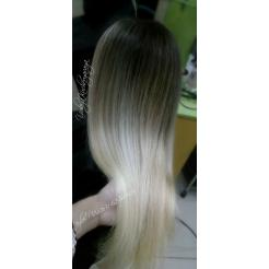 Шатуш на длинных волосах